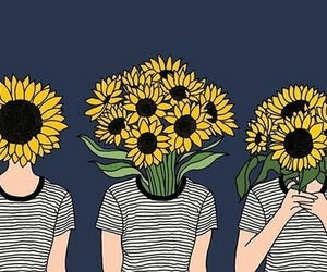 flowers, sunflower, and art image