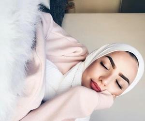 hijab, girl, and makeup image
