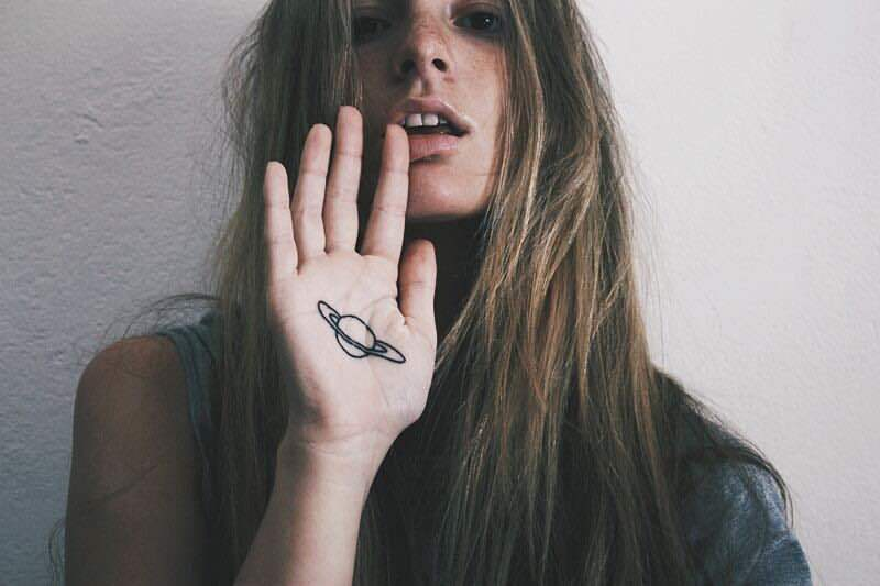 girl, tattoo, and planet image