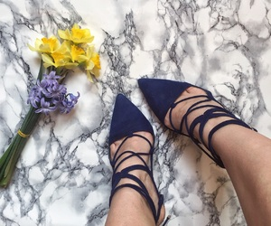 flowers, high heels, and marble image