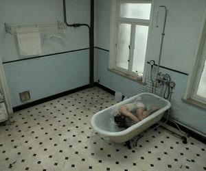 grunge, sad, and bathroom image