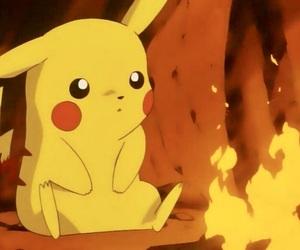 pokemon, fire, and pikachu image