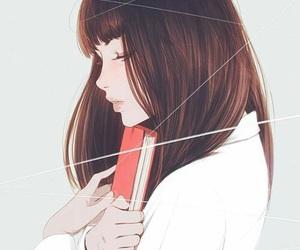 girl, book, and anime image