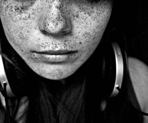 black and white, girl, and freckles image