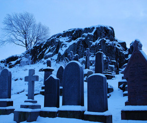 cemetery, snow, and winter image