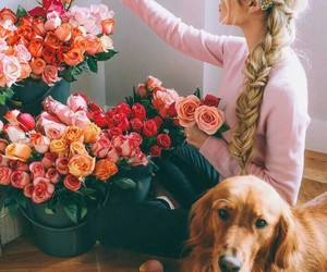 dog, flowers, and girl image