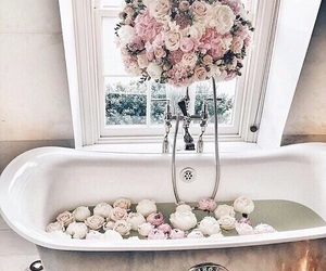 flowers, bath, and rose image