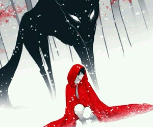 wolf, little red riding hood, and art image