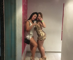 bitches, short dress, and blond and brunette image