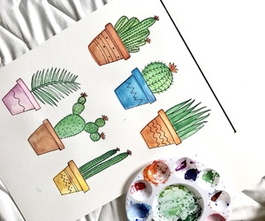 art, cactus, and color image
