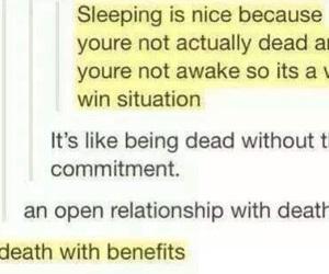 sleep, death, and funny image