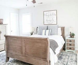 bedroom, wooden bed, and country living image