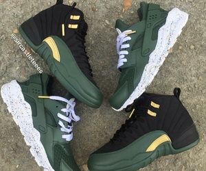 jordans, gold, and green image
