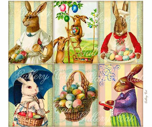bunnies, digital collage, and easter eggs image