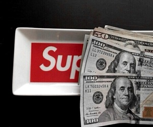 red, supreme, and money image