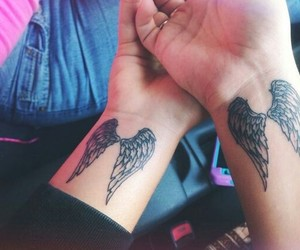 tattoo, angel, and couple image