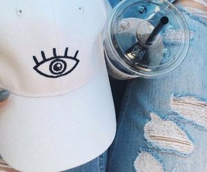 cap, fashion, and jeans image