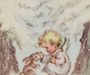 angel, bunny, and winter image