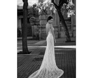 black and white, dress, and long image
