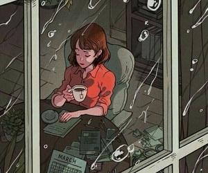 rain, art, and coffee image