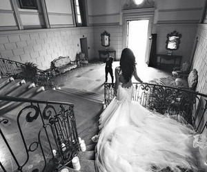 wedding, black and white, and bride image