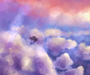 art, artwork, and clouds image