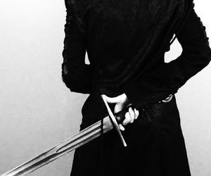 black, coat, and sword image