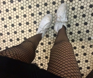 black and white, cool, and fishnets image