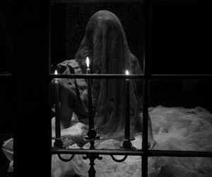 black and white, candles, and creepy image