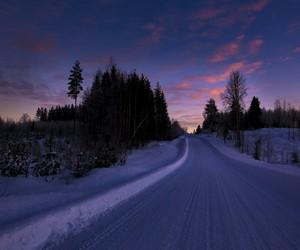 winter, purple, and snow image