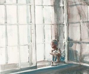art, watercolor, and girl image
