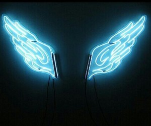 blue, neon, and wings image