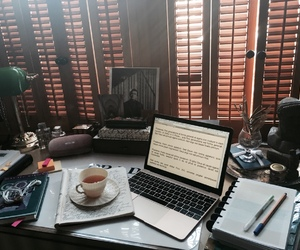 books, macbook, and organization image