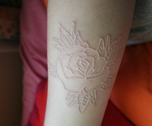 tattoo, rose, and white ink image
