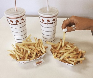 drink, food, and fries image