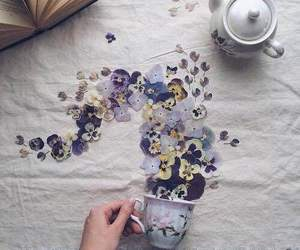 flowers, tea, and art image