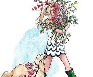 flowers, dog, and girl image