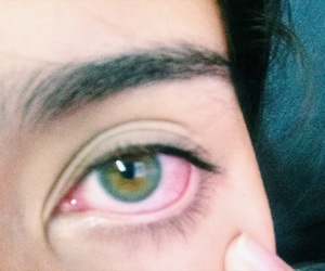 eyes, green, and red image