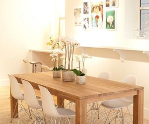 clean, dining room, and pink image