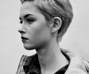 short hair and black and white image