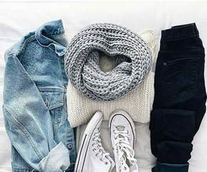 scarf, bluejeans, and whiteshoes image
