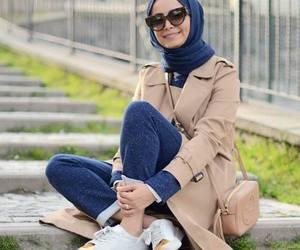 trench jacket hijab look image