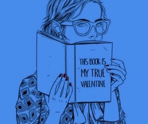 book, girl, and blue image