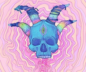 skull horns art clours