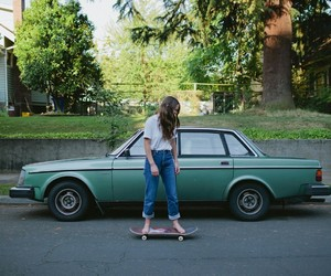 girl, car, and skate image