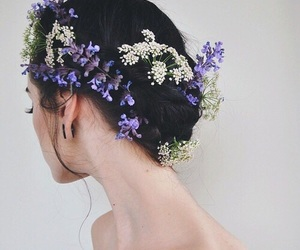 flowers, cute, and hair style image