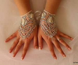 mittens, wedding gloves, and wedding lace gloves image