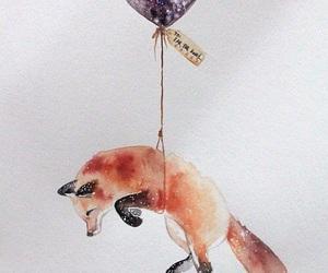 fox, art, and balloon image