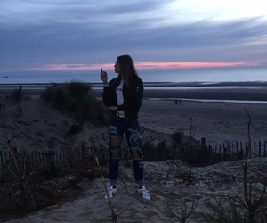 beach, blonde, and clouds image