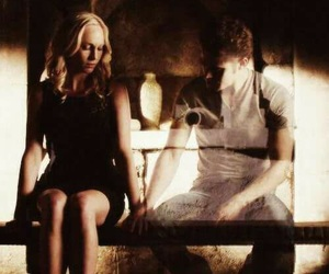 stefan salvatore, caroline forbes, and the vampire diaries image